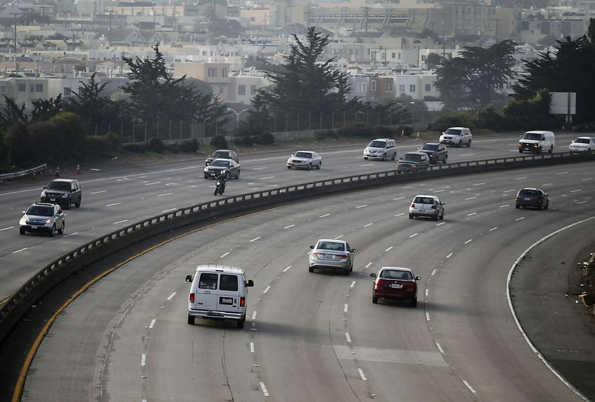 Commuters travel on a stretch of Interstate 280 known as the John F. Foran Freeway in San Francisco, Calif. on Friday, Jan. 25, 2013.