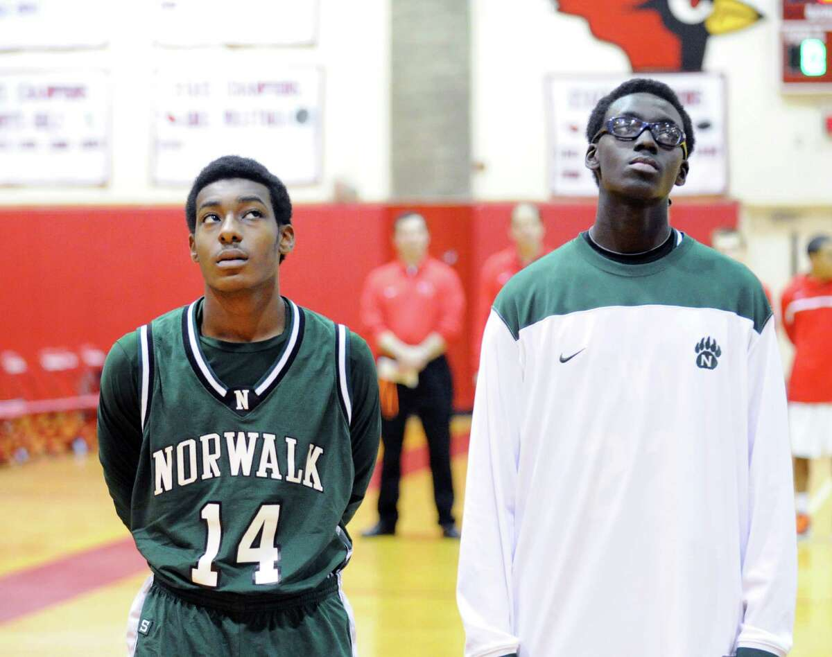 Brothers Jabari Dear, left, and Roy Kane, of the Norwalk High School basketball team, prior to the game against Greenwich at Greenwich, Tuesday night, Jan. 22, 2013.