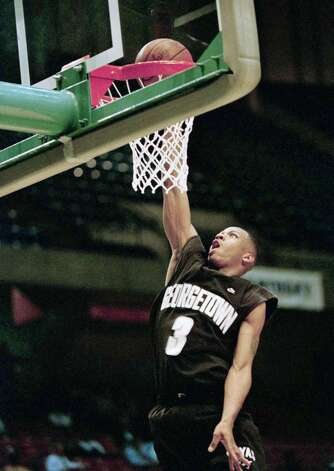 Georgetownís Allen Iverson (3) goes to the basket during practice on Wednesday, March 22, 1995 during practice for the NCAA Southeast Regional at the Birmingham-Jefferson Civic Center in Birmingham, Ala. The Hoyas play North Carolina on Thursday. (AP Photo/Bob Jordan) Photo: ASSOCIATED PRESS