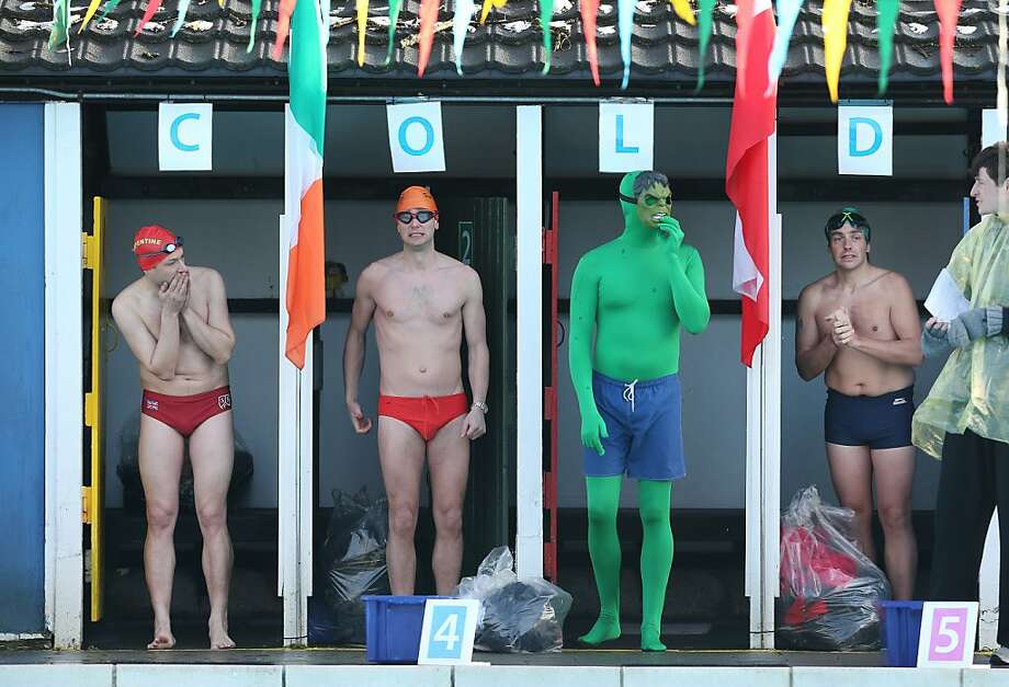 What, no Sub-Mariner? Swimmers, including an easily angered fellow in line 'L', get ready to take their marks in the UK Cold Water Swimming Championships at Tooting Bec Lido in London. Photo: Peter Macdiarmid, Getty Images
