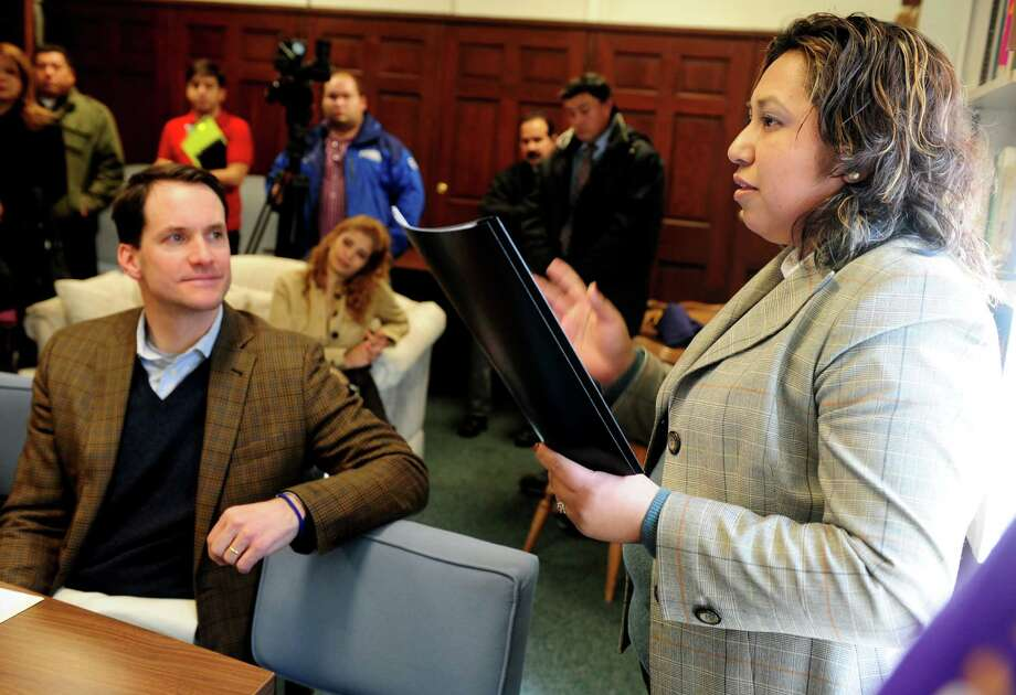Laura Marañon, a Bridgeport Parent Leader, speaks during a community forum, calling for a path to citizenship for all undocumented immigrants by Connecticut Students for a DREAM, Friday, Jan. 26, 2013 at the United Congregational Church of Bridgeport in Bridgeport, Conn. Photo: Autumn Driscoll / Connecticut Post