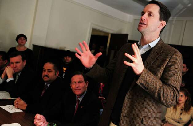 Rep. Jim Himes (D-Conn.) speaks during Connecticut Students for a DREAM's community roundtable calling for a path to citizenship for all undocumented immigrants and an end to family separations Friday, Jan. 26, 2013 at the United Congregational Church of Bridgeport in Bridgeport, Conn. Photo: Autumn Driscoll / Connecticut Post