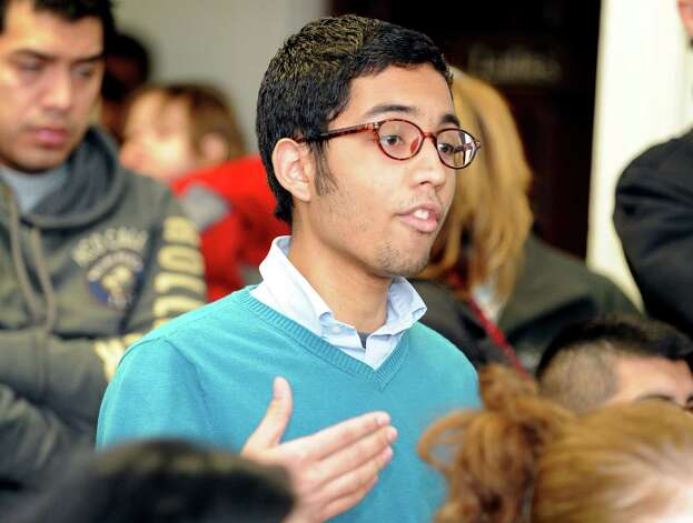 Danilo Machado, a student member of Connecticut Students for a DREAM, speaks during a community roundtable calling for a path to citizenship for all undocumented immigrants and an end to family separations Friday, Jan. 26, 2013 at the United Congregational Church of Bridgeport in Bridgeport, Conn. Photo: Autumn Driscoll / Connecticut Post