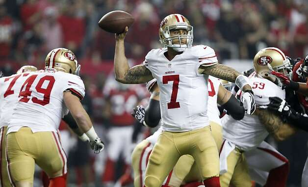 49ers Colin Kaepernick, (7) looks to throw as the San Francisco 49ers went on to beat the Atlanta Falcons 28-24 in the NFC Championship game on Sunday Jan. 20,  2013, at the Georgia Dome in Atlanta Ga. Photo: Michael Macor, The Chronicle