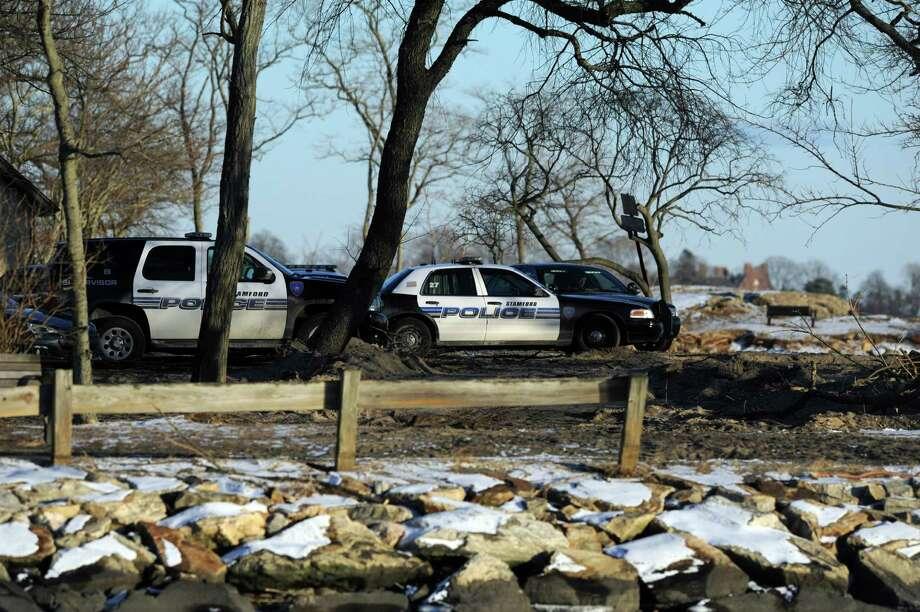 Stamford Police respond to Cove Island Park near Thomas F.J. Quigley Beach where the body of Frank Kuleba, 50, of Norwalk, was found Saturday, January 26, 2013. Photo: Lindsay Perry / Stamford Advocate