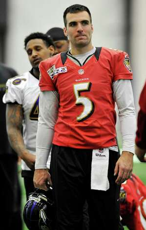 Baltimore Ravens quarterback Joe Flacco walks off the field after NFL football practice at the team's training facility in Owings Mills, Md., Saturday, Jan. 26, 2013. The Ravens are scheduled to face the San Francisco 49ers in Super Bowl XLVII in New Orleans on Sunday, Feb. 3.  (AP Photo/Gail Burton) Photo: GAIL BURTON, Associated Press / FR4095 AP