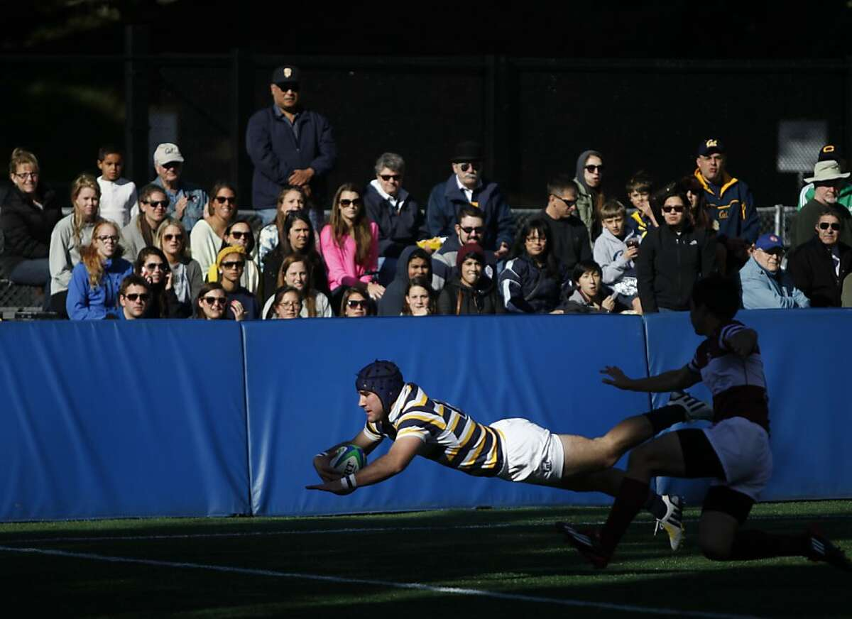 Team captain Seamus Kelly scores the second try of the game for Cal against Stanford at Witter Field in Berkeley Calif. on Saturday, Jan. 26, 2013. The final score of the match was 176-0.