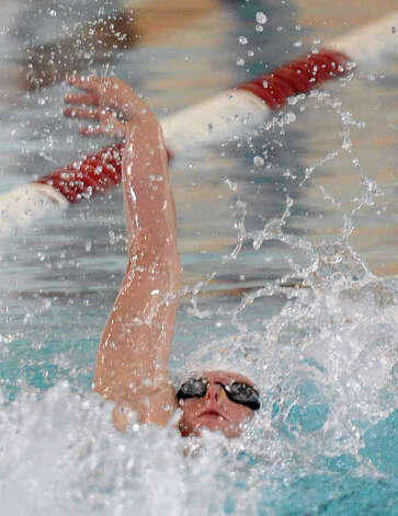 Greenwich's Alex Lewis during boys swimming action against Fairfield Prep at Fairfield University in Fairfield, Conn. on Saturday January 26, 2013. Photo: Christian Abraham / Connecticut Post