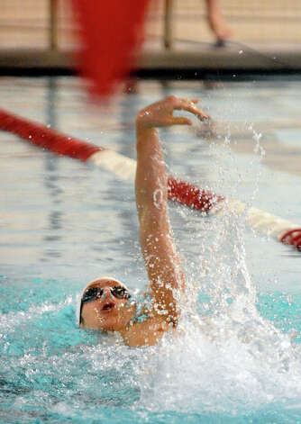 Prep's Ed Stolarski during boys swimming action against Greenwich at Fairfield University in Fairfield, Conn. on Saturday January 26, 2013. Photo: Christian Abraham / Connecticut Post