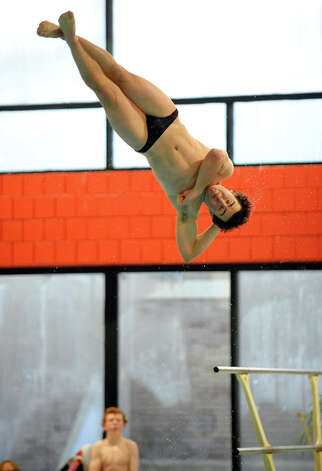 Greenwich's Andrew Bolagna during boys swimming action against Fairfield Prep at Fairfield University in Fairfield, Conn. on Saturday January 26, 2013. Photo: Christian Abraham / Connecticut Post