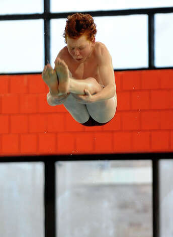 Prep's Robert McCrory during boys swimming action against Greenwich at Fairfield University in Fairfield, Conn. on Saturday January 26, 2013. Photo: Christian Abraham / Connecticut Post