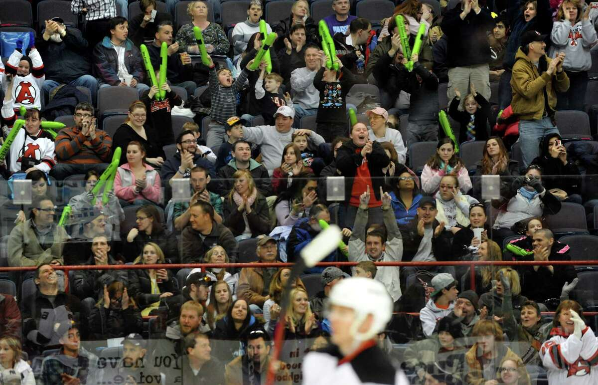 The record crowd cheers with the Albany Devils score during their hockey game against the Adirondack Phantoms on Saturday, Jan. 26, 2013, at Times Union Center in Albany, N.Y. (Cindy Schultz / Times Union)
