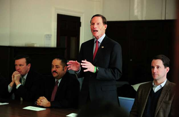 U.S. Sen. Richard Blumenthal (D-Conn.) speaks during Connecticut Students for a DREAM's community roundtable calling for a path to citizenship for all undocumented immigrants and an end to family separations Friday, Jan. 26, 2013 at the United Congregational Church of Bridgeport in Bridgeport, Conn. Photo: Autumn Driscoll / Connecticut Post