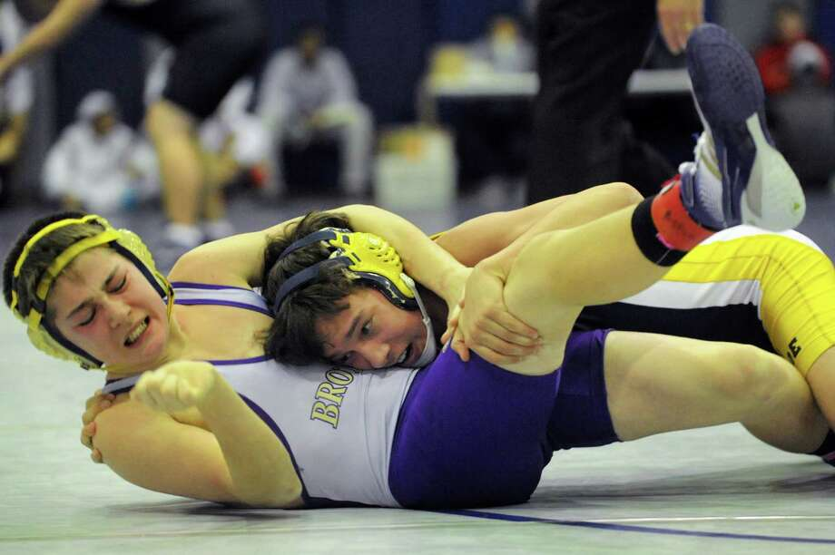 Christian Brothers Academy's Alec Blanchard, left, grapples with Averill Park's Joe Toth at 120 pounds during the Big 10 Wrestling Invitational on Saturday, Jan. 26, 2013, at Albany High in Albany, N.Y. Toth wins with a pin. (Cindy Schultz / Times Union) Photo: Cindy Schultz / 00020906A