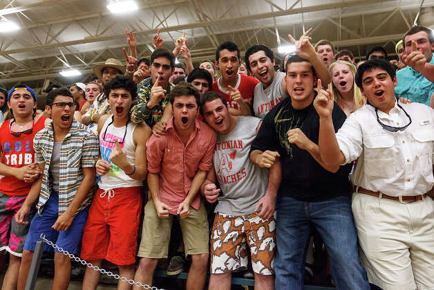 Members of the Antonian student body cheer on their team during their game with Central Catholic at Paul Taylor Field House on Jan. 26, 2013.  MARVIN PFEIFFER/ mpfeiffer@express-news.net Photo: MARVIN PFEIFFER, Express-News / Express-News 2013