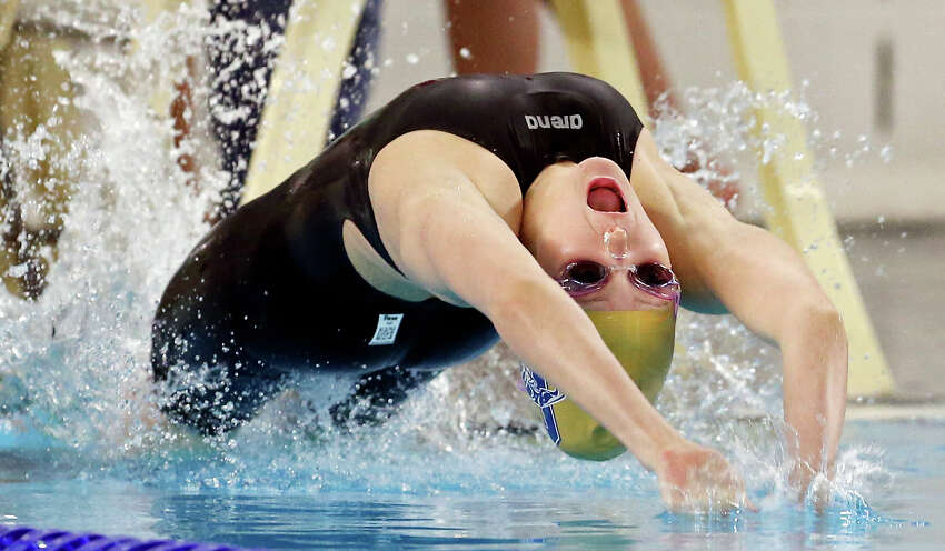 Abby McAlpin competes in the 100-yard backstroke in 2013 at the George Block Aquatic Center. The center has a 4.5-star Yelp rating.