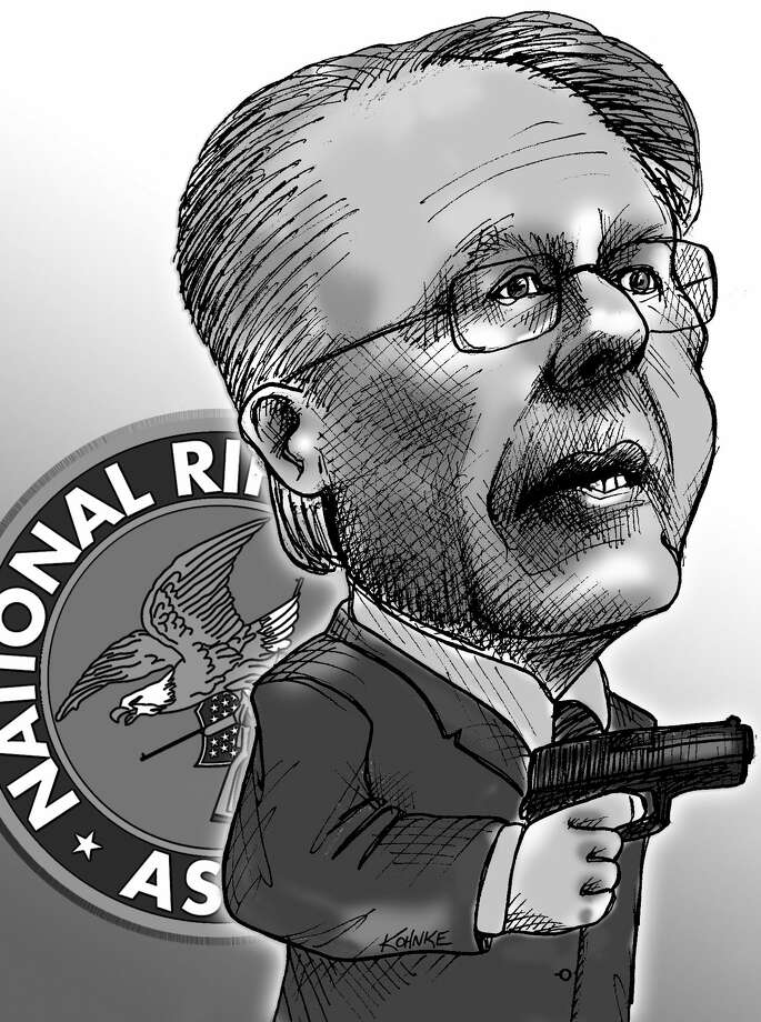 This artwork by Jennifer Kohnke relates to National Rifle Association CEO Wayne LaPierre.