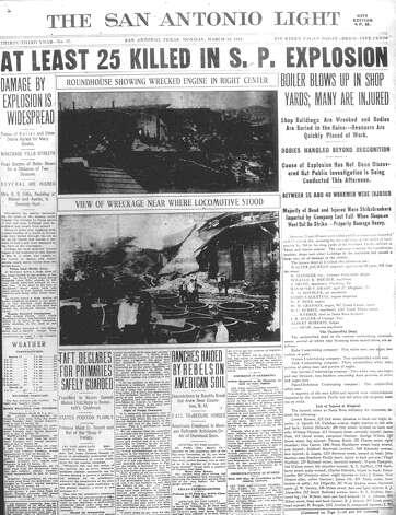 MONDAY, MARCH 18, 1912: Twenty-six people die when a Southern Pacific Railroad locomotive's boiler explodes at the roundhouse in San Antonio. Photo: San Antonio Light Archives