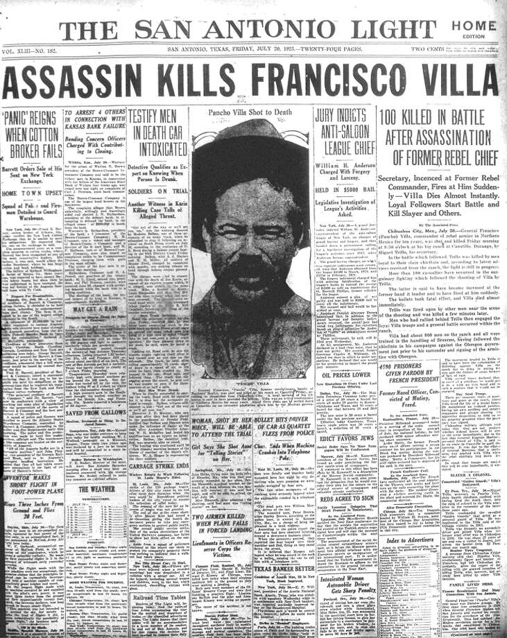 FRIDAY, JULY 23, 1923: Pancho Villa, hero of the Mexican Revolution, is killed in an ambush. Photo: San Antonio Light Archives