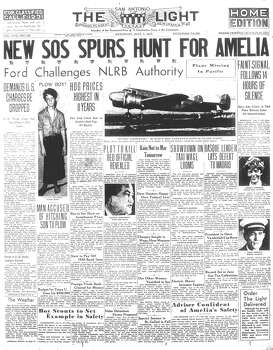 SATURDAY, JULY 3, 1937: Pilot Amelia Earhart, the first woman to fly solo across the Atlantic, goes missing over the Pacific during an attempt to fly around the world. She and navigator Fred Noonan are never seen or heard from again. Meanwhile, Elmendorf farmer Frank Mitchell is accused of hitching his 14-year-old son to a plow. Photo: San Antonio Light Archives
