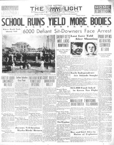 FRIDAY, MARCH 19, 1937: A natural gas explosion at the New London School in Rusk County, Texas, kills nearly 300 students and teachers. It remains the deadliest school disaster in U.S. history. The disaster lead the Texas Legislature to mandate a scent be added to natural gas, which was odorless and colorless, so leaks could be detected. Photo: San Antonio Light Archives