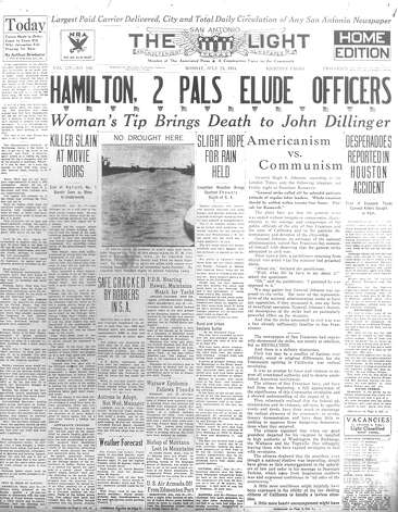 MONDAY, JULY 23, 1934: Bank robber John Dillinger is killed in front Biograph Theater in Chicago after a tip from girlfriend. Photo: San Antonio Light Archives