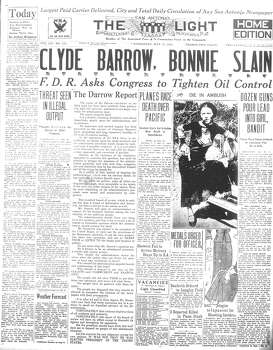 WEDNESDAY, MAY 23, 1934: Clyde Barrow and Bonnie Parker's murder and robbery spree ends when they are killed by a Texas posse's ambush in Louisiana. Photo: San Antonio Light Archives
