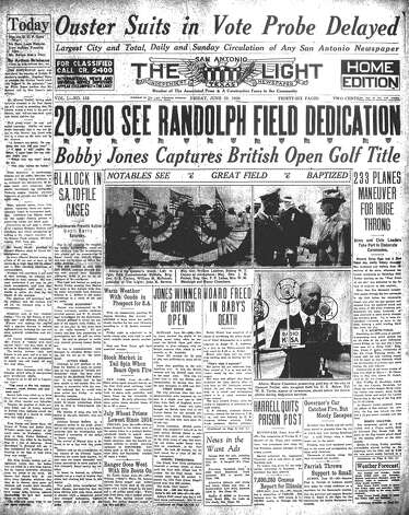"FRIDAY, JUNE 20, 1930: Thousands flock to Randolph Field for the field's dedication, which includes maneuvers by 233 planes. At the time, the so-called ""West Point of the Air"" is the world's largest air field and training center. Photo: San Antonio Light Archives"