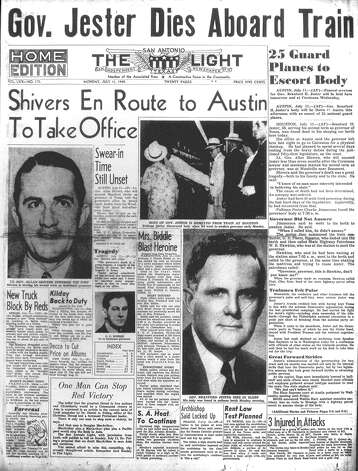 MONDAY, JULY 11, 1949: Texas Gov. Beauford Jester dies aboard a train, becoming the first and only Texas governor to die in office. Photo: San Antonio Light Archives