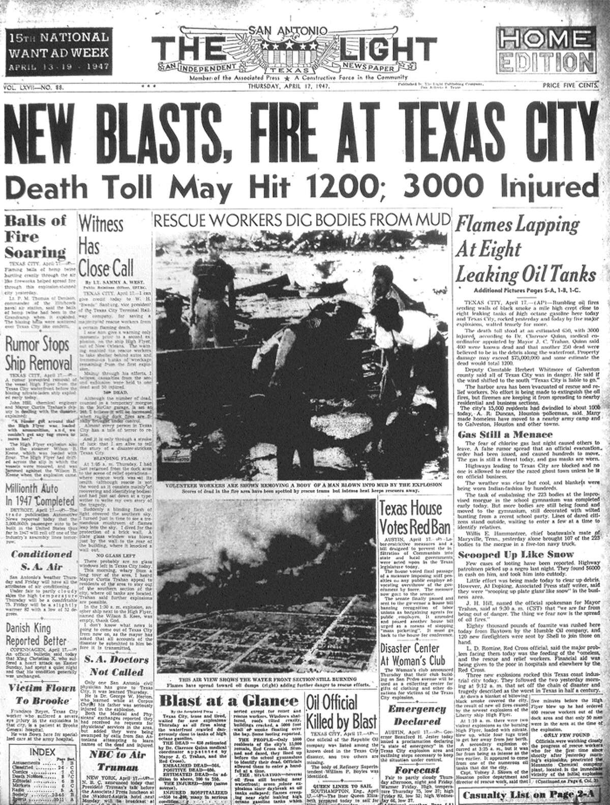 THURSDAY, APRIL 17, 1947: A fire aboard a ship in the Port of Texas City detonates ammonium nitrate, resulting in a chain of fires and explosions that kills more than 575 people, in the deadliest industrial accident in U.S. history.