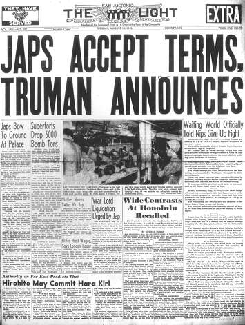 TUESDAY, SEPT. 14, 1945: Japan accepts the terms of surrender, ending the fighting in World War II. Photo: San Antonio Light Archives