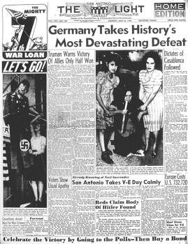 "TUESDAY, MAY 8, 1945: Germany surrenders to the Allies in World War II. In San Antonio, the Light reported, ""there were a few loud yelps and rebel yells as sirens blared at 8:05 a.m. while President Truman was broadcasting over the radio that the Germans had surrendered unconditionally,"" but otherwise the city ""took V-E Day calmly and formally."" Photo: San Antonio Light Archives"
