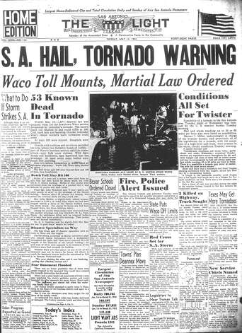 TUESDAY, MAY 12, 1953: Martial law is ordered after more than 100 are killed by a tornado in Waco. In San Antonio, residents were on edge as tornado conditions were forecast for the area. Photo: San Antonio Light Archives