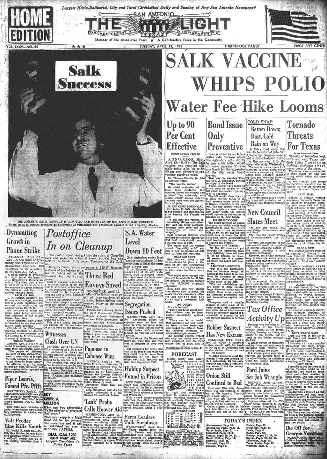 TUESDAY, APRIL 12, 1955: Dr. Jonas Salk unveils his polio vaccine, which will nearly eradicate the disease in the United States. Photo: San Antonio Light Archives