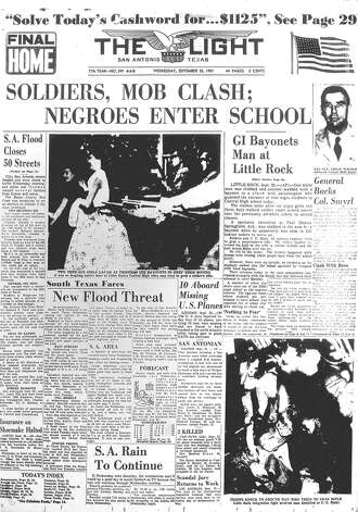 WEDNESDAY, SEPT. 25, 1957: President Dwight Eisenhower dispatches federal troops to Little Rock, Ark., to enforce integration at Little Rock Central High School, after nine black students are denied entry by Gov. Orval Faubus and the Arkansas National Guard. In San Antonio, 50 streets were closed due to flooding after the city received several inches of rain over the week. Photo: San Antonio Light Archives