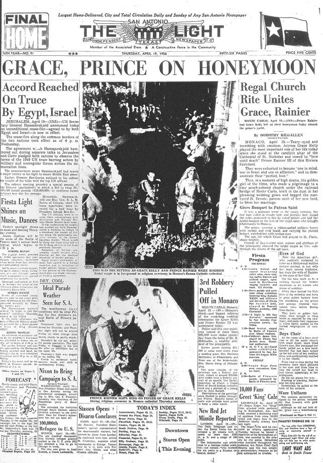 THURSDAY, APRIL 19, 1956: The world swoons as actress Grace Kelly marries Prince Rainier of Monaco. Photo: San Antonio Light Archives