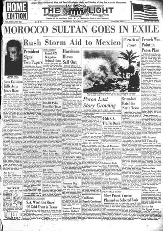 SATURDAY, OCT. 1, 1955: Actor James Dean dies in a car accident in California, as San Antonian Audie Winfred Smith becomes the Alamo City's 44th traffic death of the year. Photo: San Antonio Light Archives