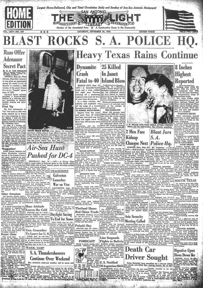 SATURDAY, SEPT. 24, 1955: Half-brothers Roy Bryant and John Milam of Mississippi are found innocent by a white, male jury in the murder of Emmitt Till, a 14-year-old black boy from Chicago. Anger over the trial's verdict — and the pair's confession to the murder in a magazine interview the next year — is a catalyst for the Civil Rights Movement. Meanwhile, in San Antonio, a gasoline leak from a nearby tank truck causes an explosion at police headquarters. No one is hurt. Photo: San Antonio Light Archives