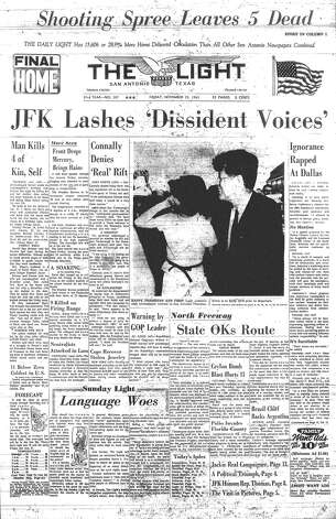 FRIDAY, NOV. 22, 1963: Thousands greet President John F. Kennedy as he visits San Antonio to deliver a speech at Brooks AFB. It is his last speech. Photo: San Antonio Light Archives