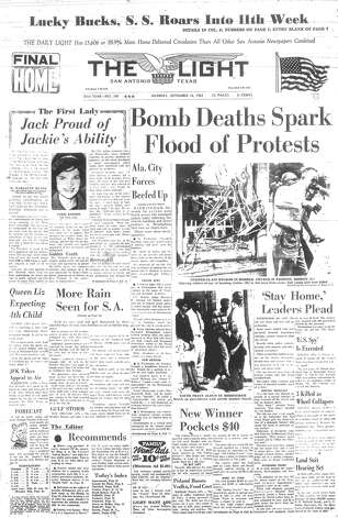 MONDAY, SEPT. 16, 1963: Four girls are killed in an explosion at the 16th Street Baptist Church in Birmingham, Ala., a racially motivated act of terrorism. The deaths of the children help the nation realize the seriousness of the Civil Rights Movement. Photo: San Antonio Light Archives