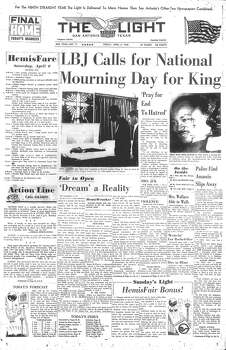 FRIDAY, APRIL 5, 1968: Civil Rights leader Martin Luther King Jr. is assassinated by James Earl Ray in Memphis, Tenn. Photo: San Antonio Light Archives