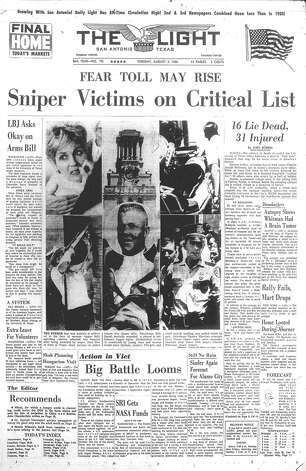 TUESDAY, AUG. 2, 1966: Fourteen people are killed and 32 are injured when University of Texas student Charles Whitman goes on a shooting rampage in and atop of the UT Tower. Whitman also killed his wife and mother before climbing the tower. Photo: San Antonio Light Archives