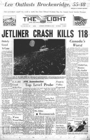"SATURDAY, NOV. 30, 1963: The crash of Trans-Canada Air Lines Flight 831 kills 118, but in San Antonio, high school football fans are talking about the bi-district game between Lee and Brackenridge. Lee won the match, which would be dubbed ""The Game of the Century"" by the Dallas Morning News, 55-48. Photo: San Antonio Light Archives"
