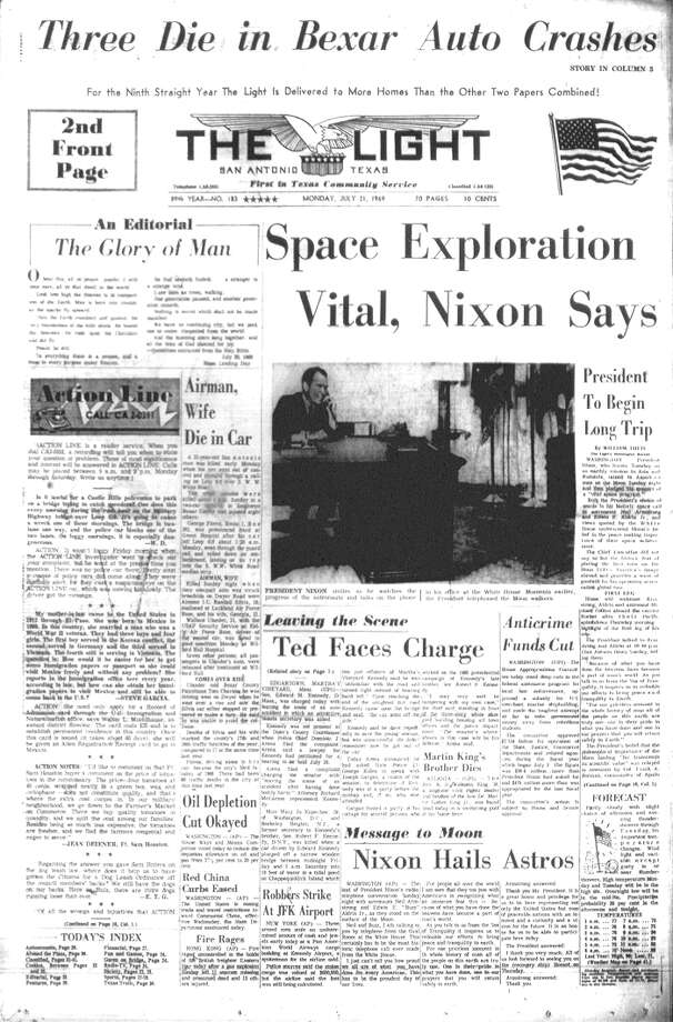 "MONDAY, JULY 21, 1969: President Richard Nixon and the rest of the country watch as Neil Armstrong takes the first steps on the Moon during the Apollo 11 mission. Unable to contain the news to the regular edition, the San Antonio Light prints a ""Lunar Extra"" later in the day. Photo: San Antonio Light Archives"