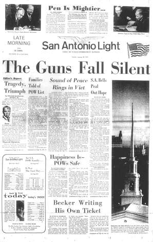 "SUNDAY, JAN. 28, 1973: A cease fire ends fighting in the Vietnam War. San Antonian Adlyn Wilson told the Light that her husband, Maj. Glenn Wilson, had been confirmed as a prisoner of war and would be coming home soon. ""I'll still be waiting, but this time it's happy waiting,"" Wilson said. ""I've been waiting for years. This time a few weeks or months isn't going to be anything."" Photo: San Antonio Light Archives"