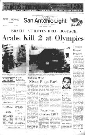 TUESDAY, SEPT. 5, 1972: Members of the Israeli Olympic team are taken hostage at the Summer Games in Munich. Eventually, 11 team members and a German police officer are killed by the Palestinian terror group Black September. Photo: San Antonio Light Archives
