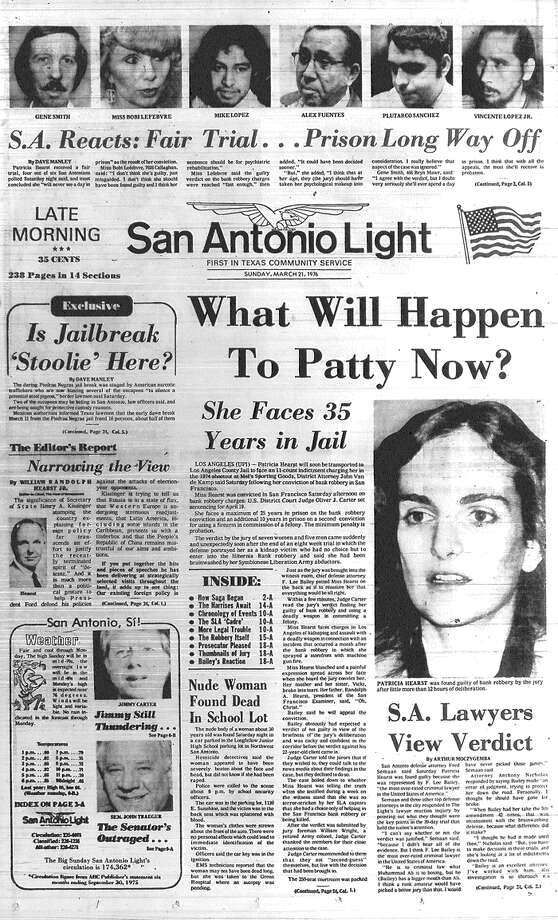 "SUNDAY, MARCH 21, 1976: Kidnapping victim Patty Hearst, granddaughter of newspaperman William Randolph Hearst, is convicted of bank robbery in San Francisco. Four out of six San Antonians polled tell the Light she received a fair trial and ""will never see a day in prison."" In fact, Hearst will end up serving 22 months. Photo: San Antonio Light Archives"