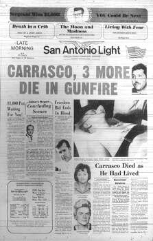 SUNDAY, AUG. 4, 1974: Four are dead after an 11-day siege at the Huntsville Unit of the Texas State Penitentiary led by inmate Fred Gomez Carrasco. Photo: San Antonio Light Archives