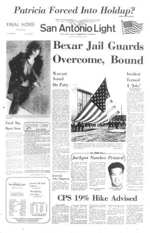 "THURSDAY, APRIL 16, 1974: A warrant is issued for kidnapping victim Patty Hearst, granddaughter of newspaperman William Randolph Hearst, after a security camera captures her robbing a bank in San Francisco with members of the Symbionese Liberation Army. Meanwhile in San Antonio, two guards at the Bexar County Jail were overpowered, gagged and bound by up to a dozen inmates in what prisoners called ""a joke."" Photo: San Antonio Light Archives"