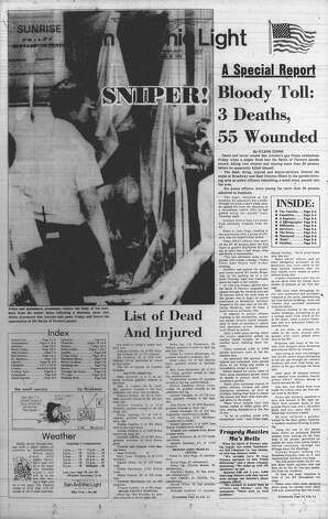 SATURDAY, APRIL 28, 1979: Two are killed and more than 50 are injured when Ira Attebury opens fire at Broadway and Grayson during the Battle of Flowers Parade. Attebury then apparently took his own life. Photo: San Antonio Light Archives